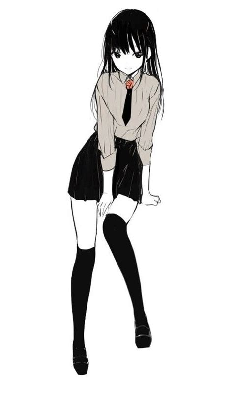 skirt shirt socks black hair anime girl cutie pie