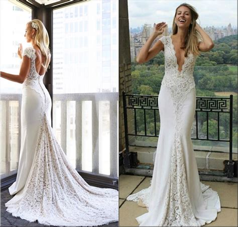 China Lace Spandex Bridal Gowns V Neckline Lace Boho Beach