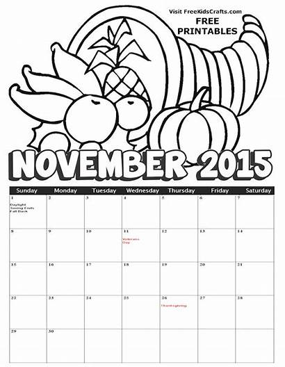 Coloring November Calendar Pages Thanksgiving Printables Month