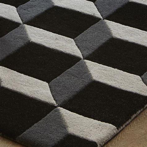 geometric geo wool rugs  blackgrey  sale  uk
