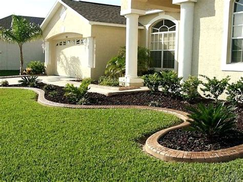 Front Yard Landscaping Ideas Showing Green Grass With