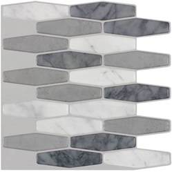 Smart Tiles Peel And Stick Wall Tile by Shop Peel Amp Stick Mosaics Peel And Stick Marble Long Hex