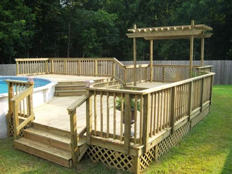 build  freestanding deck   ground pool