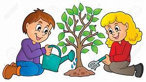 Clipart of animated growing trees