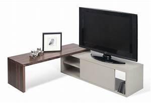 Télé 110 Cm : meuble tv extensible slide pivotant l 110 203 cm gris noyer pop up home ~ Teatrodelosmanantiales.com Idées de Décoration