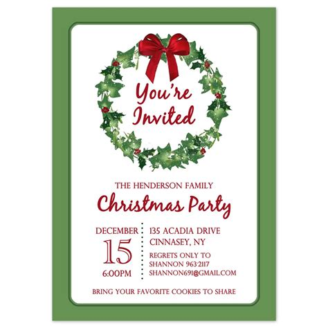Christmas Party Invitations Christmas Wreath Design