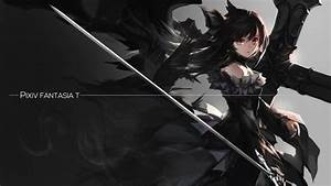 Pixiv, Fantasia, T, Original, Characters, Black, Dress, Sword, Long, Hair, Red, Eyes, Twintails, Anime