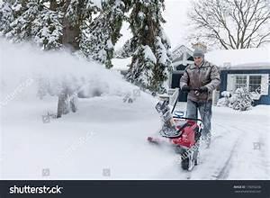 Man Using Snowblower Clear Deep Snow Stock Photo 176056256 ...