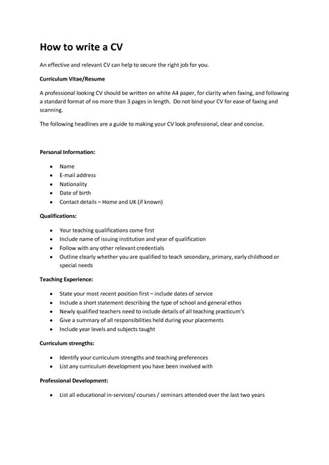 A Cv by How To Write A Cv Fotolip