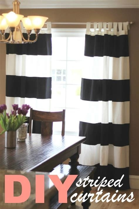 black and white striped curtains tutorial diy super easy