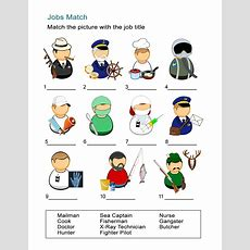 List Of Common Occupations Worksheet Match The Jobs And Pictures  All Esl