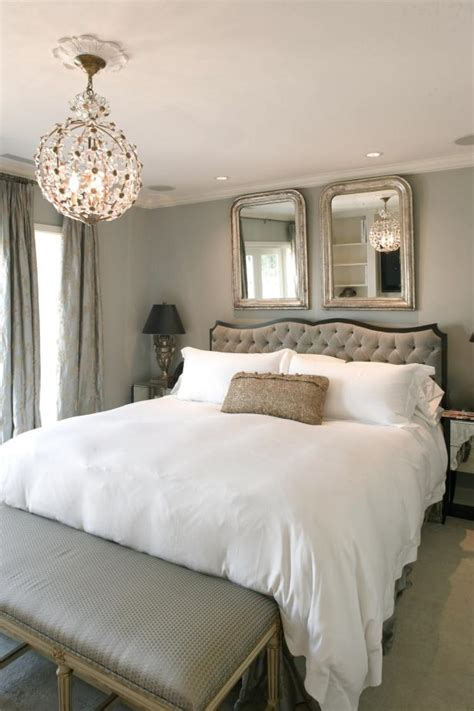 sophisticated gray bedroom  whimsical chandelier hgtv