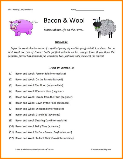 8 3rd grade comprehension worksheets thin today