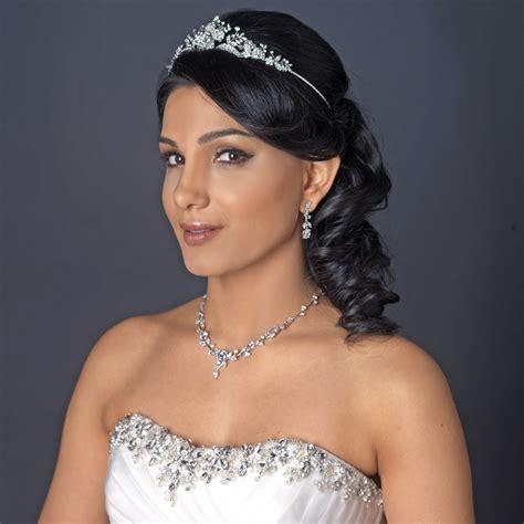 Radiant Rhinestone Rose Tiara Headpiece - Elegant Bridal ...
