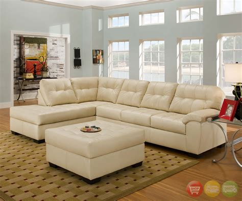 Ivory Leather Sectional Sofa