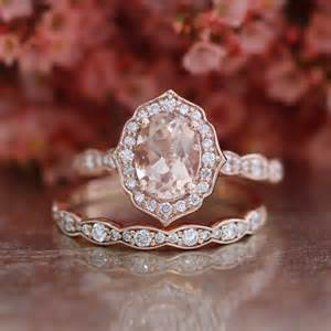 gold engagement rings etsy bridal set vintage floral oval morganite engagement ring and