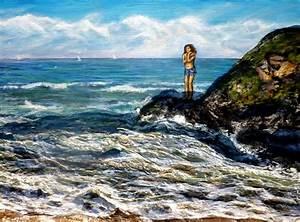 Tableaux Mer Et Plage : peinture femme sur la plage vague mer acrylique en relief 3d artiste peintre virginie trabaud ~ Teatrodelosmanantiales.com Idées de Décoration