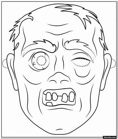 Zombie Mask Coloring Halloween Outline Zum Colorare