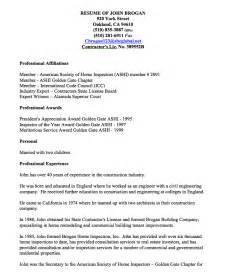 new home inspector resume home inspector resume exles resumes design