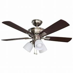 Hampton bay vaurgas in led indoor brushed nickel ceiling fan with light kit the home