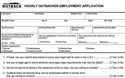 outback steakhouse application print