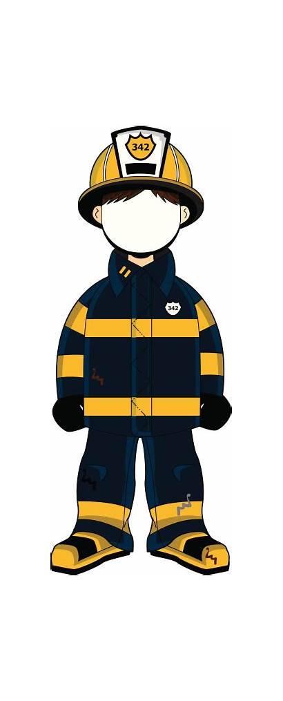Firefighter Fireman Clipart Face Background Character Uniform