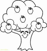 Coloring Apple Tree Pages Cute Printable Sheets Print Cartoon Core Funny Fruits Categories Find sketch template