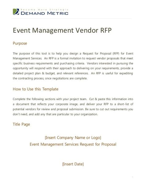 event management rfp template rfp request  proposal