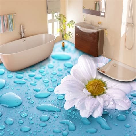 custom floor wallpaper  stereoscopic drops flower vinyl