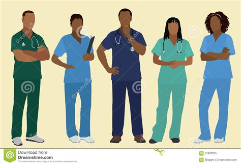 Black Nurses Or Surgeons In Scrubs Stock Vector