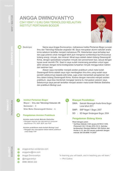 Cara Membuat Resume Yang Menarik by Contoh Cv Resume Yang Menarik Anggadwinovantyo