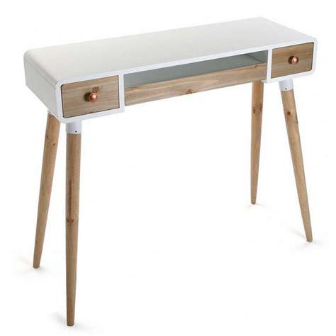 bureau console 2 tiroirs table bureau console avec tiroirs design scandinave bois