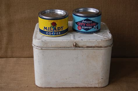 Vintage Metal Tin Kitchen Storage Boxes Vintage Coffee Tins