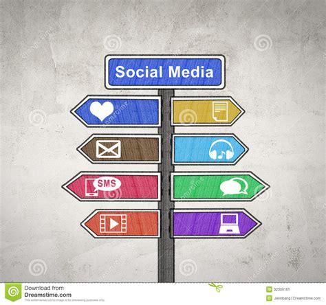 social media sign board stock illustration illustration