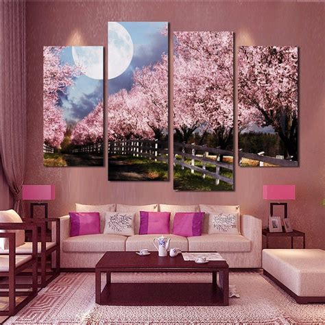 Some of the technologies we use are necessary for critical functions like security and site integrity, account authentication, security and privacy preferences, internal site. 4 Panels Pink Purple Trees Landscape Wall Canvas | Walling Shop