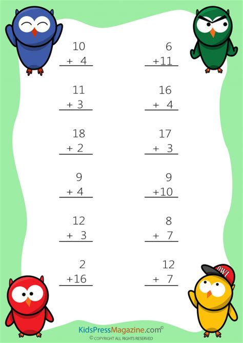 easy sums add to 20 worksheet 4 addition worksheets