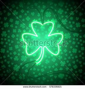 Flyer Saint Patricks Party Green Neon Stock Vector