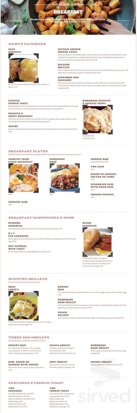 marys kountry kitchen menu  tavares florida usa
