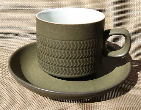 denby langley camelot dark green chevron cup saucer set