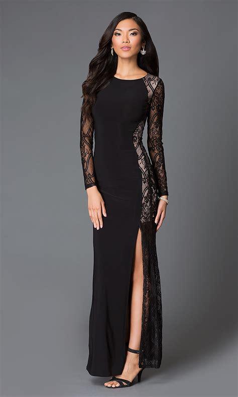 black long sleeve floor length lace dress promgirl