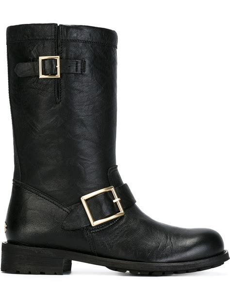 biker boots for jimmy choo 39 biker 39 boots in black lyst