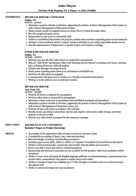 Server Resume by Beverage Server Resume Sles Velvet