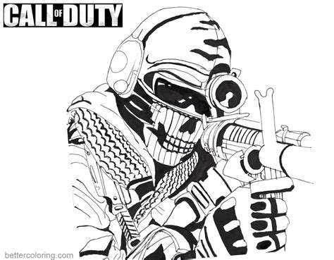 call color call of duty coloring pages ghost by kopale free