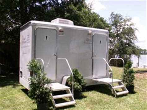 two stall portable restroom trailers