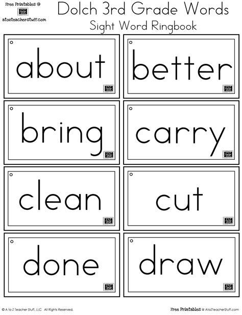 printable 3rd grade sight words breadandhearth