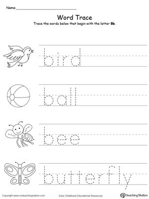 small printable alphabet flash cards for letters a b c d 115 | Tracing Words That Begin With Letter Sound B
