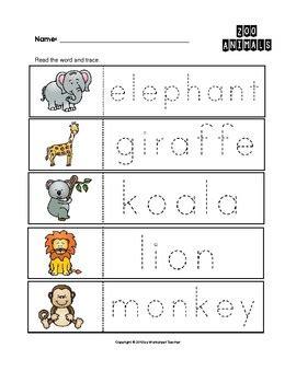 zoo animals worksheets for kindergarten zoo animals trace the words worksheets preschool kindergarten tpt