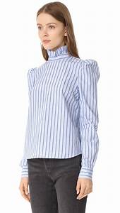 FRAME Ruffle Neck Shirt in Blue - Lyst