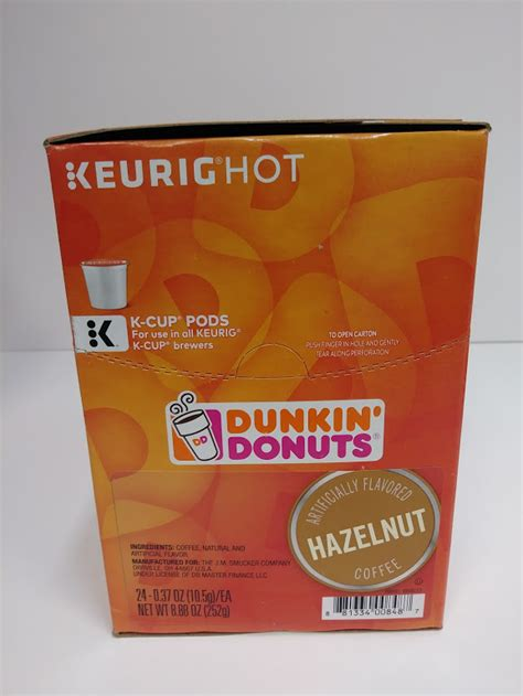 About this item contains 6 boxes of 10 dunkin' hazelnut flavored k cup pods (60 count total) clean and crisp hazelnut flavor a smooth and flavorful medium roast coffee, specially blended and roasted to deliver the same great taste as the brewed dunkin' coffee available in dunkin' shops Dunkin' Donuts Coffee K-Cup Pods, Hazelnut 24ct For Keurig Brewers 24ct! - A&M Office Supply