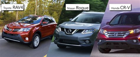 toyota nissan price the toyota rav4 vs the honda cr v and the nissan rogue